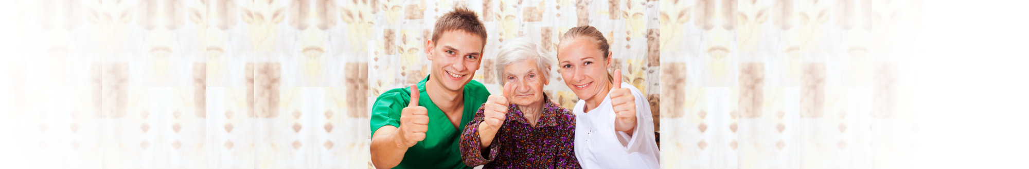 Caregivers and Elderly with thumbs up post